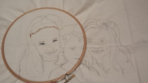 embroidered portrait outline Eden started