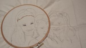 embroidered portrait outline Eden started